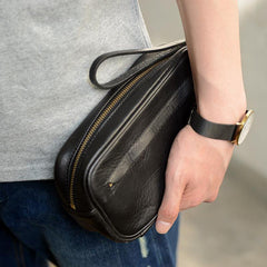 Coffee Cool Leather Mens Long Wallets Large Zipper Wallets Black Wristlet Clutch Vintage Clutch Purse For Men