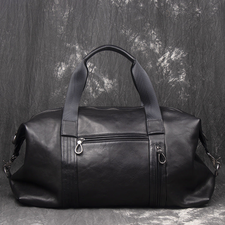 Casual Black Leather Men's Overnight Bag Large Travel Bag Luggage Weekender Bag For Men