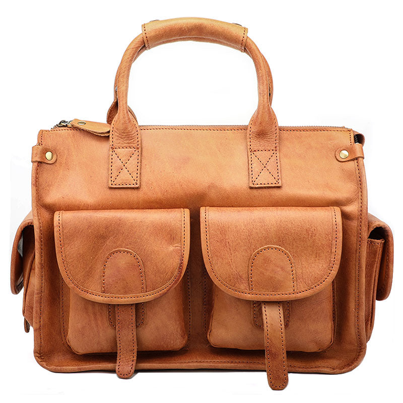 Vintage Light Brown Mens Leather Briefcase Work Handbag Brown 13'' Computer Briefcase For Men