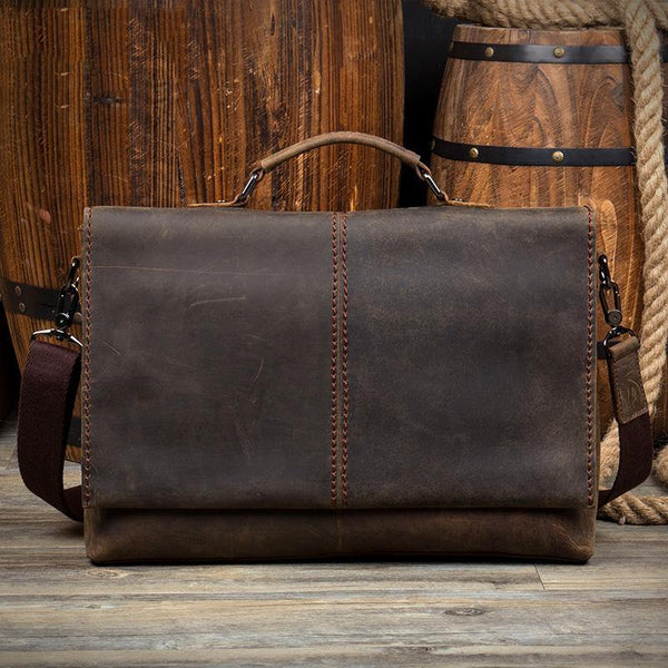 Vintage Dark Brown Leather Mens 15 inches Briefcase Laptop Bag Business Side Bags Work Bag for Men