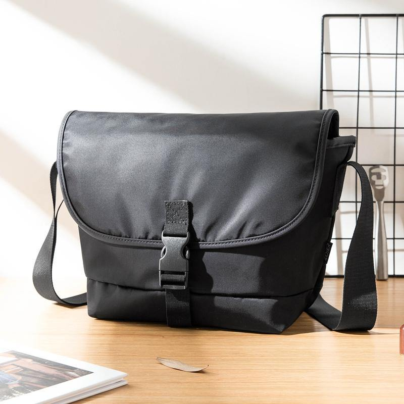 Cool Black Mens 10 inches Nylon Cloth Side Bag Black Messenger Bags Postman Bag for Men