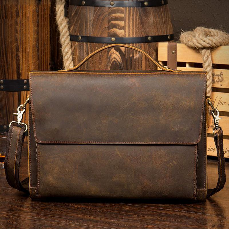 Leather Mens 14 inches Brown Briefcase Laptop Bag Business Bags Work Bags for Men