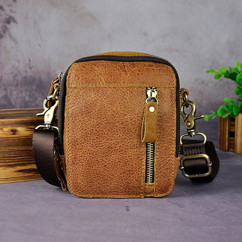 Mens Leather Small Belt Pouch Side Bag Holster Belt Case Waist Pouch for Men
