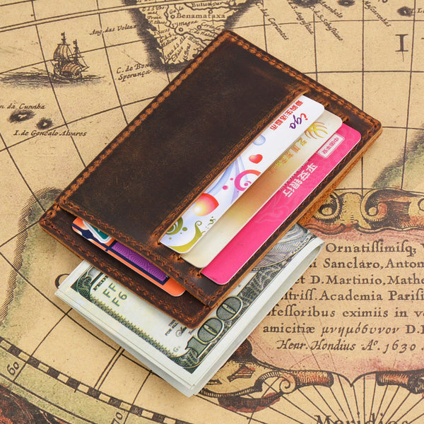 VINTAGE BROWN LEATHER MEN'S FRONT POCKET WALLETs BLACK SLIM CARD SHORT WALLET SMALL WALLET FOR MEN