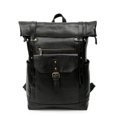 Black Mens Leather 15 inches Large School Laptop Backpack Brown Travel Backpacks for Men