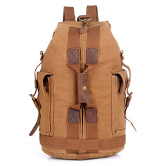 Khaki CANVAS Barrel MENS 20'' Bucket BACKPACK Brown Travel Backpack Khaki One Shoulder Hiking Bag For Men FOR MEN