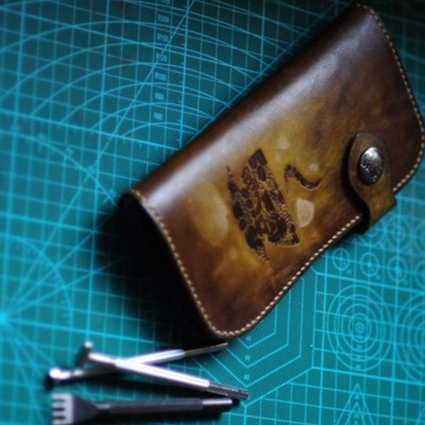 Handmade Tooled Mens Leather Long Biker Wallet Cool Long Chain Wallet for Men