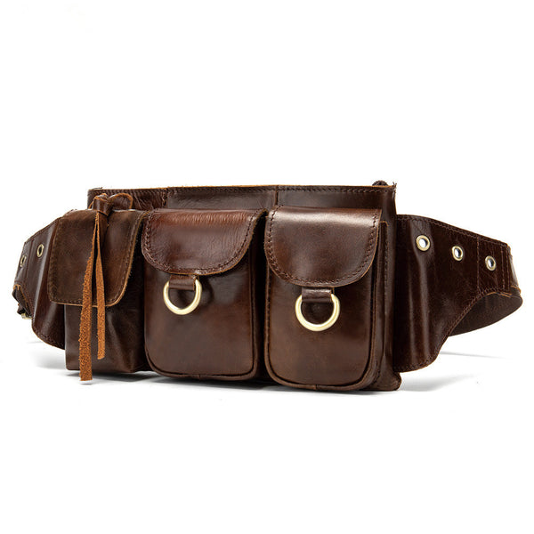 Vintage Brown Leather Men's Fanny Pack Waist Bag Brown Hip Pack Belt Bag For Men