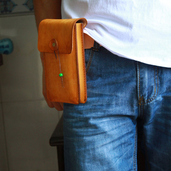 Handmade Cool Mens Leather Cell Phone Holsters Belt Pouch Waist Bag for Men
