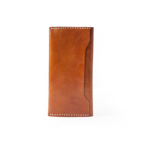 Brown Handmade Leather Mens Long Wallet Bifold Long Wallet Cellphone Wallet For Men
