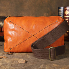 Handmade Leather Mens Brown Fanny Pack Hip Pack Black Chest Bag Sling Bag for Men