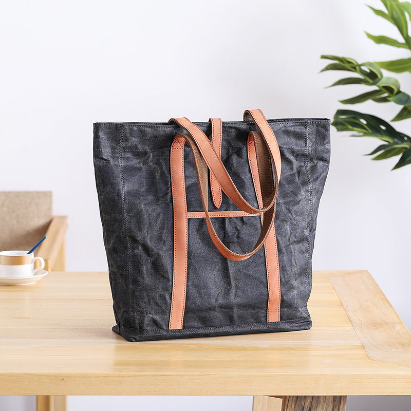 Waxed Leather Mens Womens Black 14'' Waterproof Tote Bag Handbag Tote Bag Shoulder Bag Tote Purse For Men