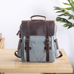 Lake Green Waxed Canvas Mens Large 14'' Laptop Backpack College Backpack Hiking Backpack for Men