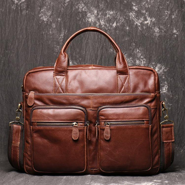 Brown Oiled Leather Men's Brown Professional Briefcase 15'' Laptop Handbag Business Bag For Men