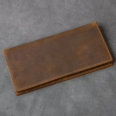 Vintage Brown Leather Mens Bifold Long Wallet Long Bifold Card Wallet For Men