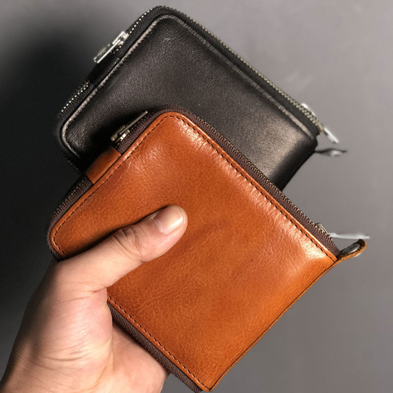 0d4a53129565 Genuine Leather Mens Cool Short Leather Wallet Men Small Wallets Bifold for  Men