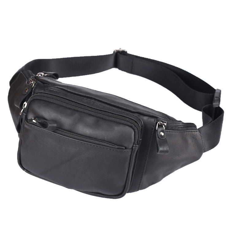 Badass Leather Fanny Pack Men's Black Chest Bag Hip Bag 8 inches Waist Bag For Men