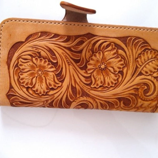 Handmade Leather Tooled Floral Mens Long Wallet Cool Long Wallet for Men