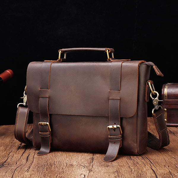 Retro Leather Men's Handbag Briefcase Business Shoulder Diagonal Bag For Men