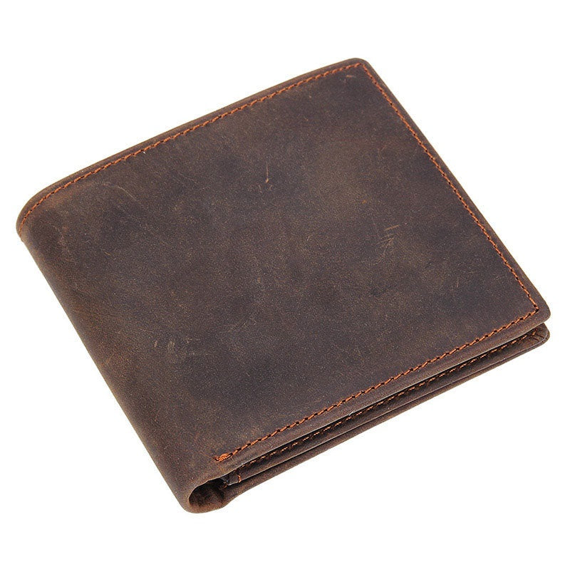 Cool Dark Brown Vintage Bifold Small Wallet Leather Mens Black billfold Small Wallet Card Wallet Coin Purse For Men