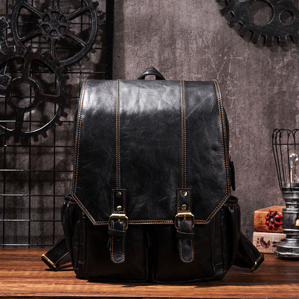 Cool Mens Leather 14inch Laptop Backpack Travel Backpacks Leather School Backpack for Men