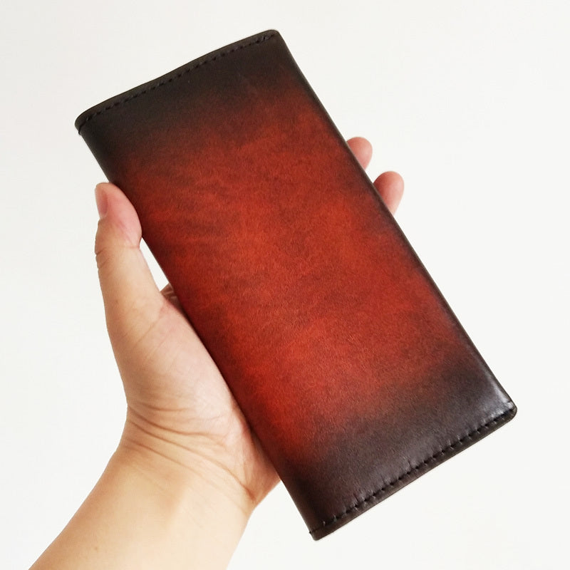 Handmade Mens Leather Brown Long Wallets Wine Red Bifold Long Wallet Clutch for Men