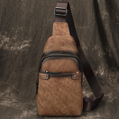 Vintage Brown LEATHER MENS One Shoulder Backpack Cool Chest Bag SLing Bag For Men