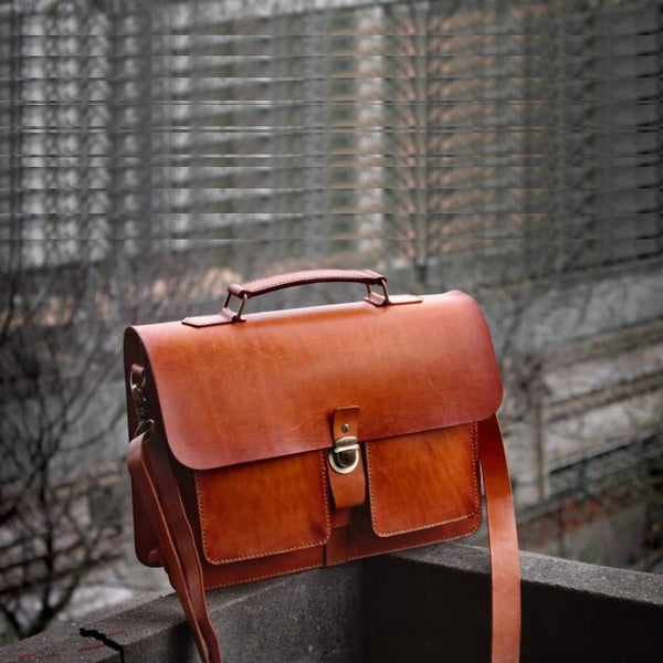 Cool Brown Handmade Leather Mens Briefcase Messenger Bag School Bag for men