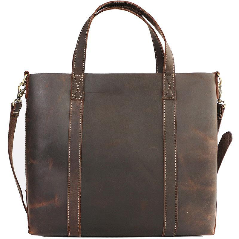 Dark Brown Vintage Leather Men Large Tote Bag Courier Tote Messenger Bag Tote For Men