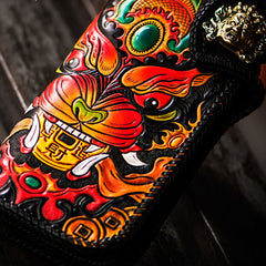 Handmade Leather Monster Mens Chain Biker Wallet Cool Leather Wallet Long Phone Wallets for Men