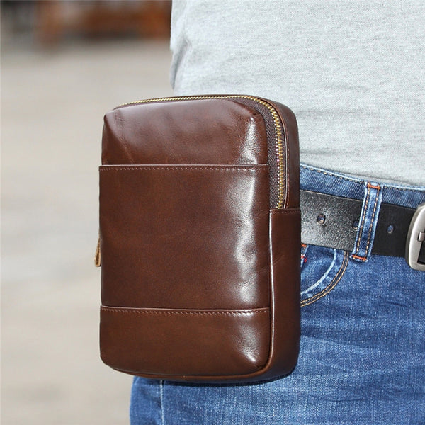 Fashion Brown Leather Men's Belt Pouch Belt Bag Black Mini Side Bag For Men