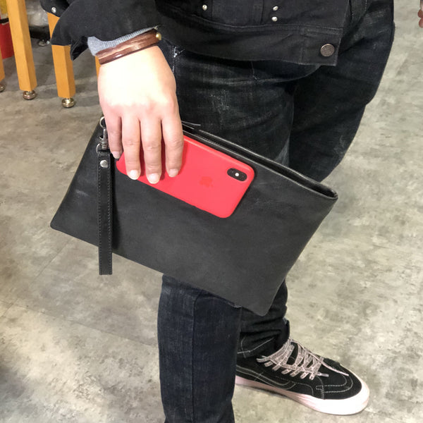 Fashion Business Black Large Leather Mens Long Wallet Wristet Wallet Clutch Wallet Hand Bag For Men