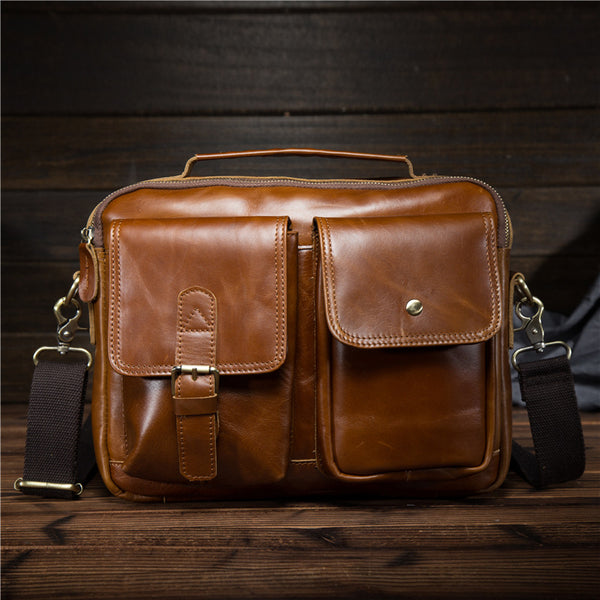 Cool Retro Leather Briefcase Handbag Work Bag Business Bag Shoulder Bags For Men