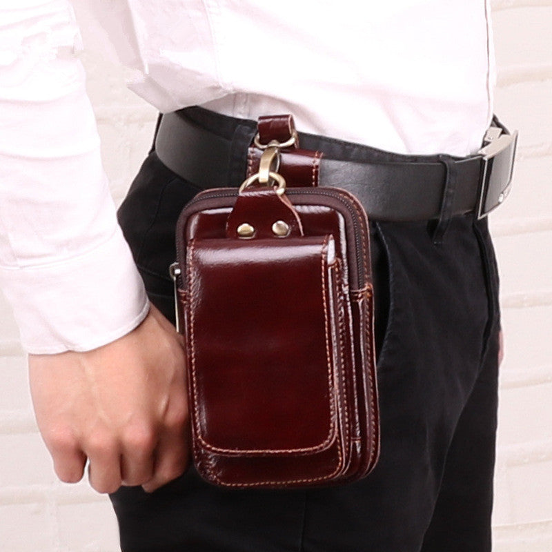 Cool Red Brown Oil Waxed Leather Mens Belt Case Belt Pouch Mini Waist Pouch Belt Bags For Men