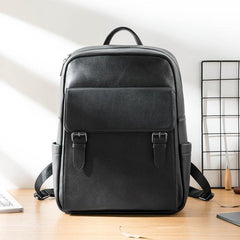 Business Black Mens Leather 15-inch Laptop Backpack School Backpacks Travel Backpacks for men