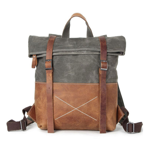 Cool Waxed Canvas Leather Mens Backpack Canvas Travel Backpacks Canvas School Backpack for Men