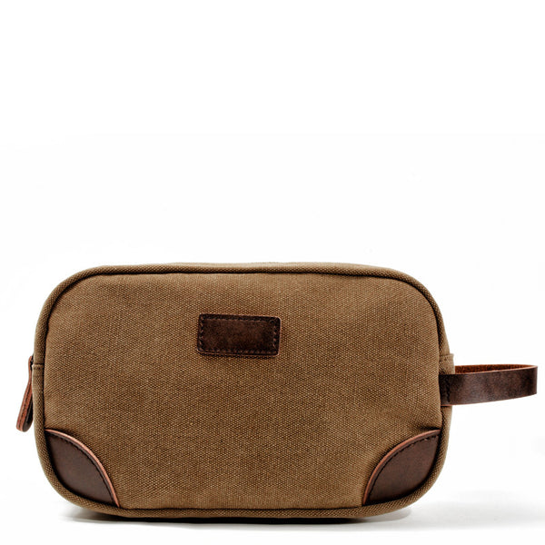 Waxed Canvas Leather Mens Women's Cosmetic Bag Clutch Bag Handbag Storage Bag Wash Bag For Men