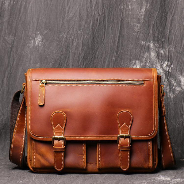 Cool Brown LEATHER MENS 12'' Side BAG COURIER BAG Brown MESSENGER BAG FOR MEN