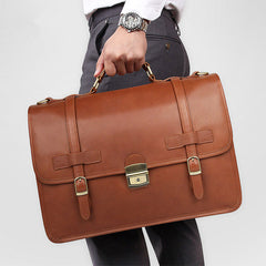 Top Brown Large Leather Mens Business 15 inches Laptop Work Briefcase Large Handbag Briefcase Business Bags For Men