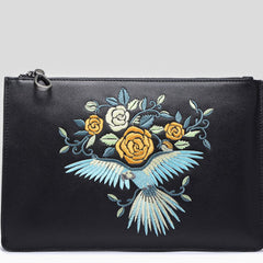 Handmade Leather Mens Clutch Parrots Cool Slim Wallet Zipper Clutch Wristlet Wallet for Men