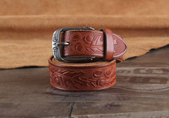 Genuine Leather Punk Rock Biker Tooled Floral Trucker Mens Belt Men Black Coffee Belt for Men
