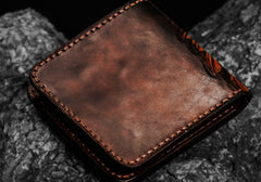 Handmade Leather Indian Chief Tooled Mens Short Wallet Cool Leather Wallet Slim Wallet for Men