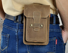 Leather Mens Cigarette Cases with Belt Loop Cell Phone Holster Belt Pouch for Men