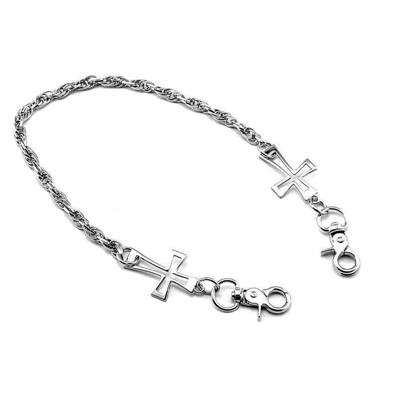20'' Metal Silver Cross Wallet Chain SILVER WALLET CHAIN LONG PANTS CHAIN SILVER JEAN CHAIN FOR MEN