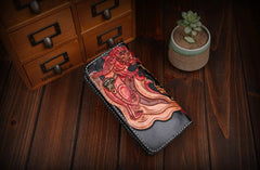 Handmade Leather Mens Clutch Wallet Tooled Cool Monster Wallet Long Zipper Wallets for Men
