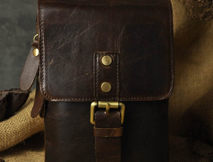 0ee5152987b3 Next.  69.00 69.00. Overview  Design  Mens Leather Small Side Bag Waist  Pouch COURIER BAG Holster Belt ...