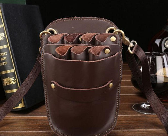 Cool Leather Mens Hairstylist Tool case barber pouch scissors case Belt Pouch