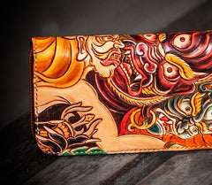 Handmade Leather Tooled Mahākāla Mens Zipper Wallet Cool Leather Wristlet Wallet for Men
