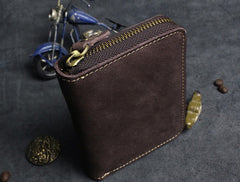 Handmade Leather Mens Cool Slim Leather Wallet Men Zipper Short Wallets Bifold for Men