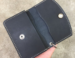 Handmade Leather Mens Cool Slim Leather Envelope Wallet Men Small Wallets Bifold for Men